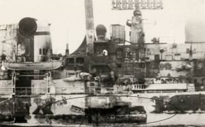 HMS Sheffield after Exocet hit
